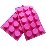 BAKER DEPOT 15 Holes Cylinder Silicone Mold For Handmade soap, jelly, Pudding, Cake Baking Tools, Hole Dia: 1.58inch Set of 2