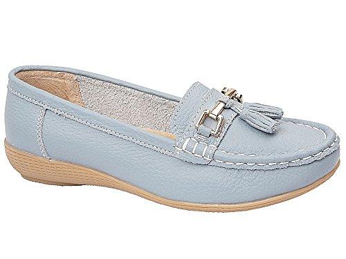 Ladies Nautical Leather Smart Loafer Tassel Moccasin Flat Slip On Comfort Shoe Size 3-8 Baby Blue qR5eb