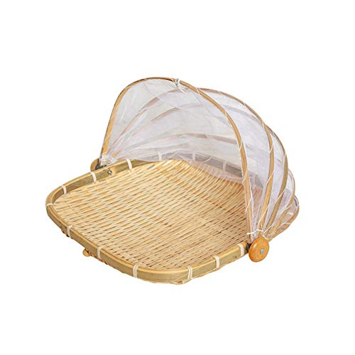 (Hand-Woven Rectangular Bamboo Serving Food Tent Basket, Fruit Vegetable Bread Cover Tray Outdoor Picnic Food Cover Mesh Tent Basket With Gauze(Bug- Proof, Dust-Proof) Keep Out Flies, Bug, Mosquitoes)