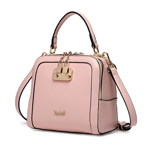 Kadell Women Leather Handbags Shell Shape Top Handle Purse with Removable Strap Light Pink