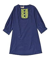 Secretly Spoiled Girls' Solid Bib Neckline Dress 10 Navy