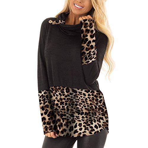 Rovinci☆ Camisas de Mujer Otoño Invierno Leopardo Impreso Casual Manga Larga Patchwork Botón Blusas Tops Pullover: Amazon.es: Ropa y accesorios