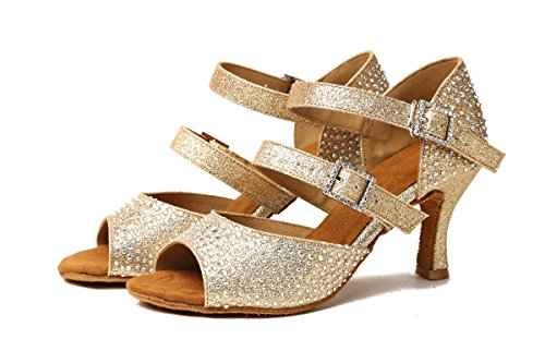 Shoes Gold 3 GL253 5 Buckle UK Sandals Crystal Wedding Ballroom MINITOO Ladies Flare Heel Dance wXOO8qx