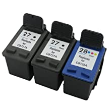 INKUTEN 3 PK: HP 27 & 28 Replacement Ink Cartridges - 2 BLK & 1 Clr High Capacity Ink Cartridges