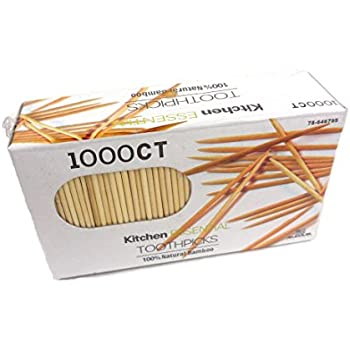 1000 Count 100% Natural Bamboo Toothpicks - Kitchen Essential