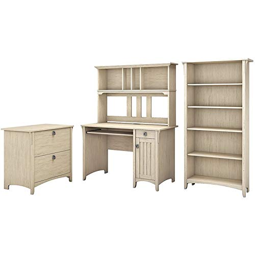 Bush Furniture Salinas Mission Desk with Hutch, Lateral File Cabinet and 5 Shelf Bookcase in Antique White by Bush Furniture