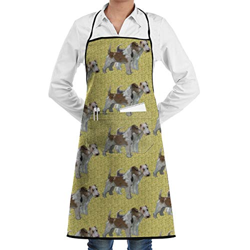 Yunilya Wire Haired Fox Terriers Aprons for Women Men Girls - Custom Cooking Waist Chef BBQ Adjustable Waterproof Apron