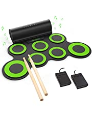 $77 » PAXCESS Electronic Drum Set, Roll Up Drum Practice Pad Midi Drum Kit with Headphone Jack Built-in Speaker Drum Pedals Drum Sticks 10 Hours Playtime, Great Holiday Birthday Gift for Kids