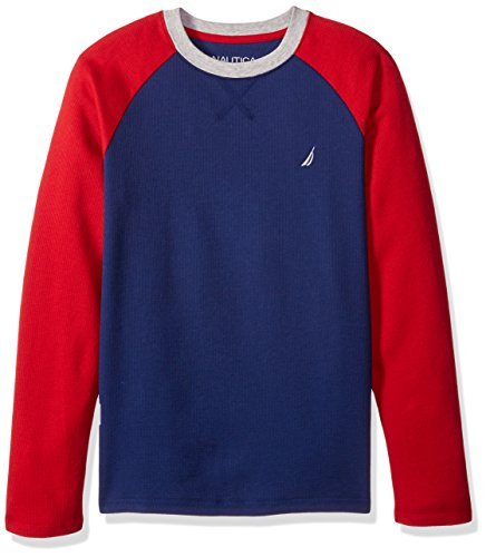Nautica Boys' Long Sleeve Raglan T-Shirt, Retro Blue, 4