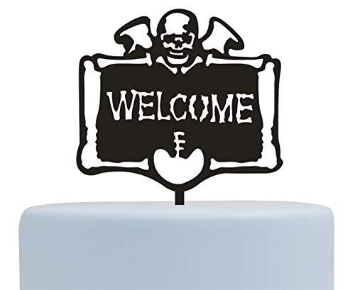 Firefairy Happy Wicked Halloween Cake Topper with Letter Welcome, Skull Cake Topper, Halloween Cake Decorations (Black)]()