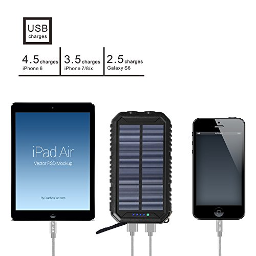 Solar Charger 12000mAh WBPINE Portable Solar Power Bank Shockproof/Dustproof/Waterproof Dual USB 2 LED Flashlights Cellphone More by WBPINE (Image #1)