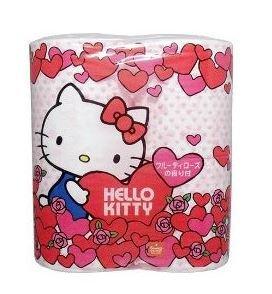 F/s Japan Import Hello Kitty Toilet Tissue Paper 4 Rolls Soft Rose Aroma - Paper Atlanta Holder Roll