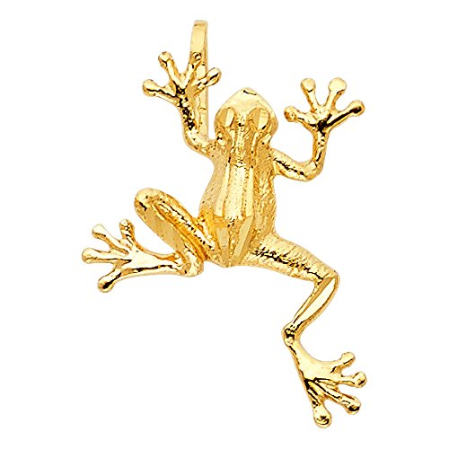 Solid Gold Frog - Solid 14k Yellow Gold Frog Pendant Charm Polished Fashion Style Genuine 15 x 11 mm