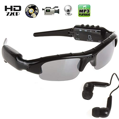 1280x720 HD Video Spy Hidden Camera Sunglasses, Glasses Spy Hidden Camera with Bluetooth & MP3 Player
