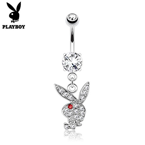 West Coast Jewelry {Clear/Red} Multi Paved Gems on Playboy Bunny Dangle Surgical Steel Navel Belly Button Ring (Sold Ind.)