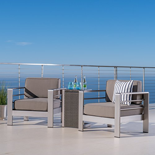 Cheap Crested Bay Patio Furniture ~ Outdoor Aluminum Patio Chairs with Side Table (Chat Set)(Khaki/Grey)