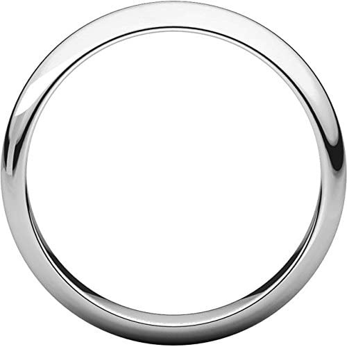 Mens 10K White Gold 4mm Half Round Wedding Band Ring