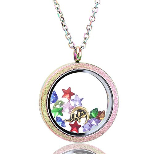 Zysta Rainbow Color Round Locket Pendant Necklace 30mm Matte Stainless Steel Clear Glass Living Memory Floating Charms Stone Storage