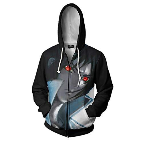 CHENMA Men Naruto Kakashi Long Sleeve Full-Zip Bomber Jacket Hooded Varsity Jacket (3XL/US XXL, Sasuke) (Sasuke Hoodie Jacket)