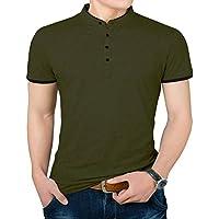 YTD camiseta polo de colores, corte entallado, de verano, mangas cortas, informal para hombre