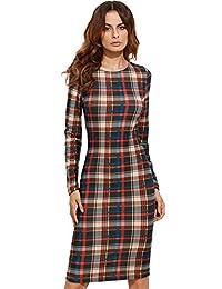 MakeMeChic Women's Elegant Crew Neck Wear to Work Business Cocktail Pencil Dress