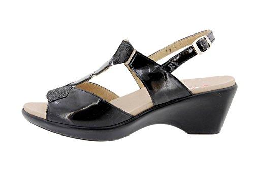 Komfort Damenlederschuh PieSanto 1859 Sandale mit herausnehmbarem Fußbett bequem breit Negro