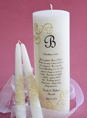 French Lace 1 Corinthians Wedding Unity Candles
