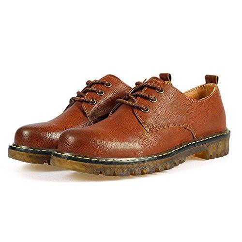 Hoxekle Kvinna Runda Tår Bekväm Brittisk Stil Skor / Perforerat / Spets / Vintage Oxford Skor Plat Brun