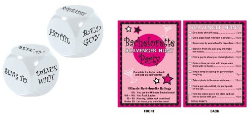 2 Fun BACHELORETTE Party Games -DECISION DICE & Scavenger HUNT -Bridesmaid PARTIES/Wedding/BRIDE to BE/GIRL'S Night OUT ()