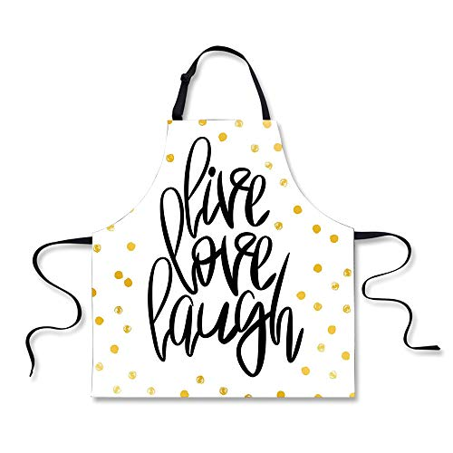 iPrint Cooking Apron,Live Laugh Love,Stylized Hand Lettering