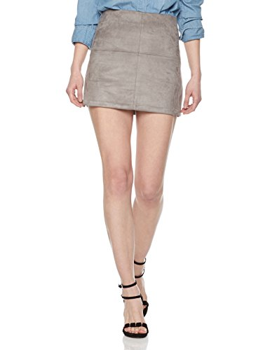 Painted Heart Women's Patchwork Faux-Suede Mini Skirt Large Grey ()