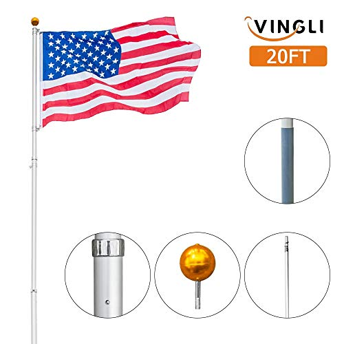VINGLI Upgraded 20ft Aluminum Telescopic Flagpole, Heavy Duty Outdoor Halyard Flag Pole, Durable Kit Free with USA American Flag Frame, for Residential or Commercial