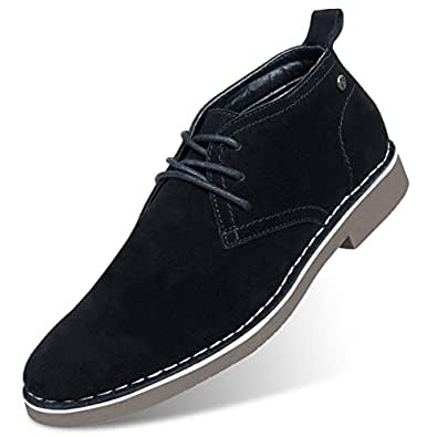 GM GOLAIMAN Men's Suede Chukka Boot Casual Lace Up Desert Boot Ankle Shoes Stylish Fashion Fit Comfortable Leather Shoes Black 8.5 US