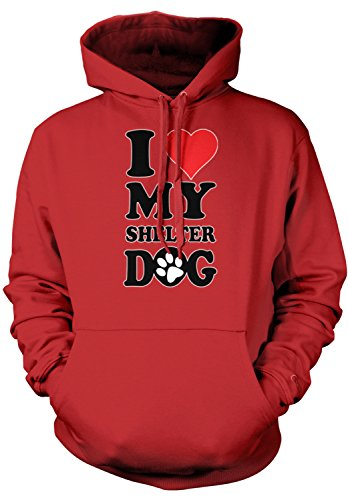 Amdesco Men's I Love My Shelter Dog Hooded Sweatshirt, Red Large