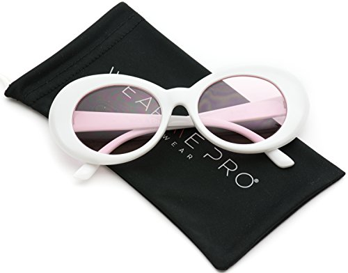 WearMe Pro - Bold Retro Oval Mod Thick Frame Oval Mod Sunglasses Clout Goggles with Color Tinted Round - Alien Shades Sunglasses