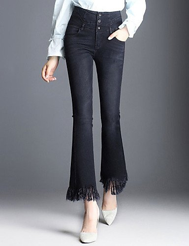 TT&NIUZAIKU Damen Jeans Hose - Quaste, Solide, Blau, 32
