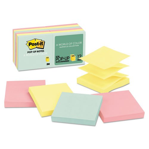 3M Commercial Office Supply Div. - Post-it Notes, Pop Up, 3''x3'', 12/PK, Assorted Pastels by Post-it