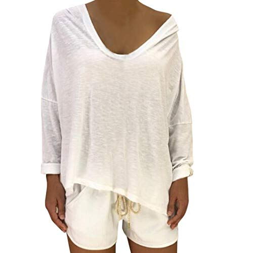 zahuihuiM Pull  Capuche Femme, Nouveau Hiver V Cou Manches Longues Shantou Print Star Sweat Mode Hauts Casual Blouse pour Fte Shopping Blanc