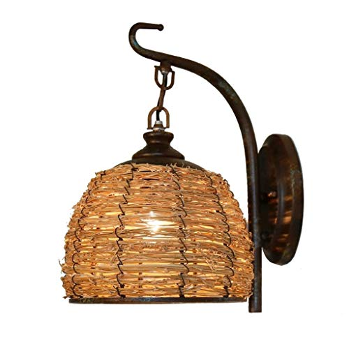 BHDYHM Modern LED Wall Lamp,Lamps Hardwire Industrial Vintage Wall Sconce Fixture Iron Art Arm,Creative Rattan Bedroom Dining Room Wall Lamp