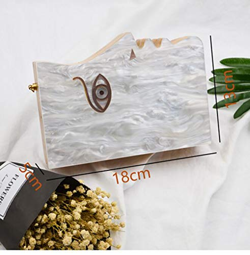 Women Acrylic Evening Bag Half Shape Fashion Face Clutch White Face Box Acrylic Handbags Qiulv Bag xv1nXUqZ
