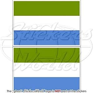 "Bandera de Sierra Leona África Occidental africana, 3""(75mm) vinilo Parachoques Pegatinas, calcomanías x2"