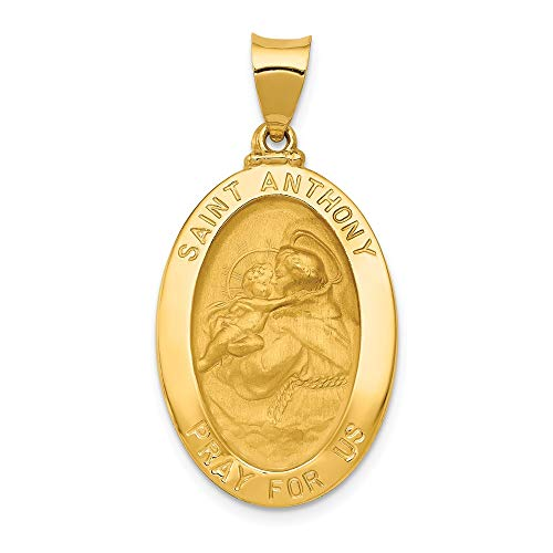 - 14k Yellow Gold Saint Anthony Medal Pendant Charm Necklace Religious Patron St Fine Jewelry Gifts For Women For Her
