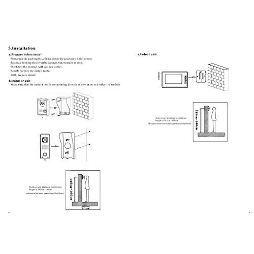 Blesiya 7inch LCD Camera Video Doorbell Intercom Monitor Safety US Standard - Black by Blesiya (Image #4)