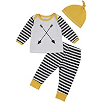 Lankey Jumpsuit Baby,3 PCS Baby Clothes Cotton Striped Long Sleeve Baby Romper+Pants+Hat