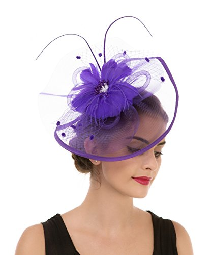 Purple Hat Pins (Lucky Leaf Women Girl Fascinators Hair Clip Hairpin Hat Feather Cocktail Wedding Tea Party Hat (8-Purple))