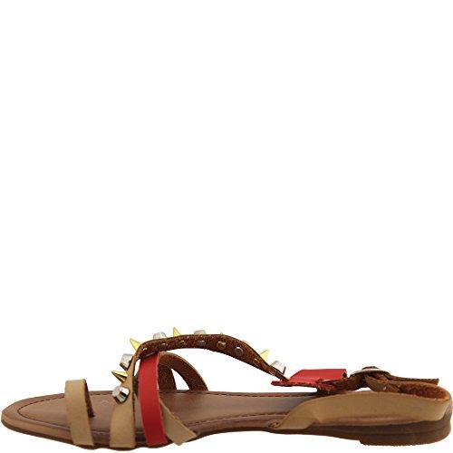 Angesagte Sandale mit Nieten & farbende Riemchen in Camel/Rot - Sommer Sandalette - A1021