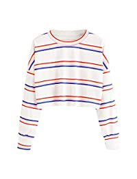 Clearance Women's Casual Color Block Striped Long Sleeve Tunic Tops Blouse