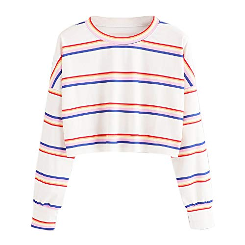 Witspace Fashion Womens Casual Long Sleeve Striped Sweatshirt Jumper Pullover Tops Blouse White ()