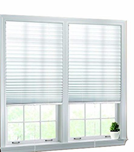 "- Luxr Blinds Pleated Fabric Shades with Pull Cord Operation: Easy Installation Light Filtering Blinds- White, 48""x72"" (1)"