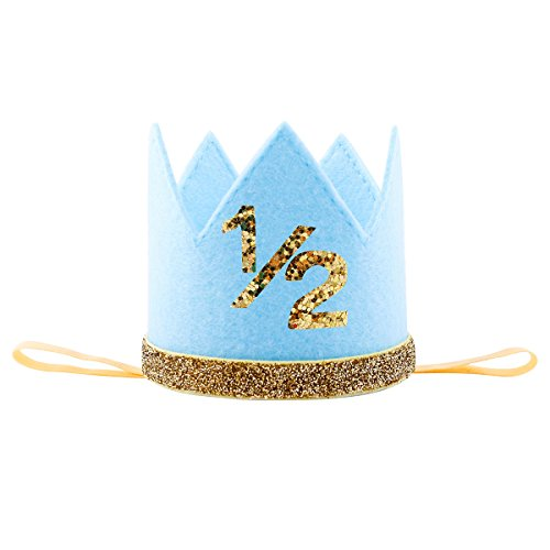 Hat Photo (Floral Fall Baby Girl and Boy 1st Birthday Hat Photo Prop Sparkly Gold Crown Elastic Headbands HG-05 (Blue 1/2))